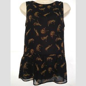 Zara Trafaluc Black Leopard Peplum Blouse Black S